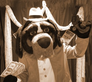 Smokey posing for old-timey photo as if he robbed a bank